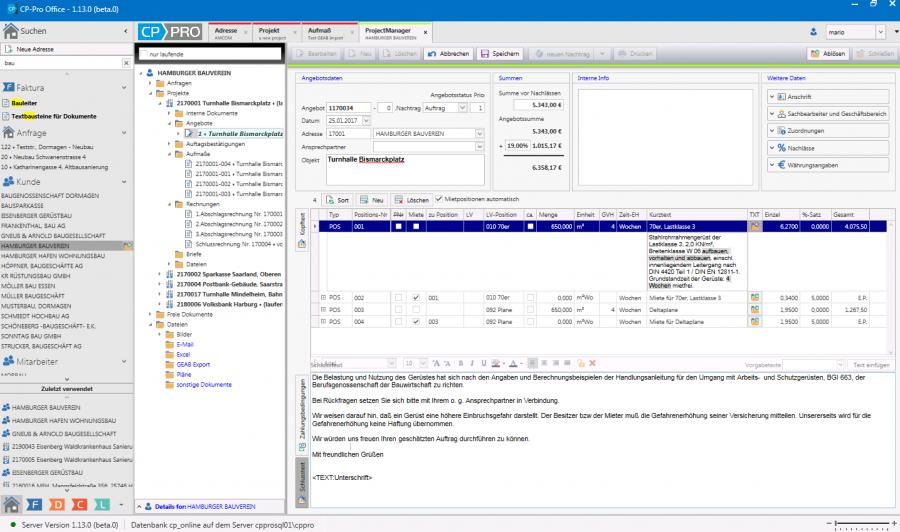 CP-Pro Version 4 - Arbeitsoberfläche Faktura